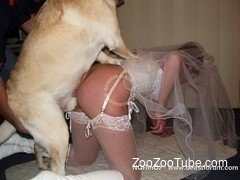 Crazy as hell bride goes crazy with her lovely white doggy